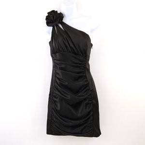 90's Black Satin Ruched Cocktail Prom Dress Mini